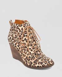 Lucky Brand Lace Up Wedge Booties - Yoanna - Lyst