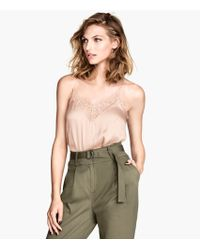 H&M Satin Top with Lace - Lyst