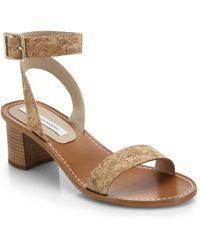 Diane von Furstenberg Cami Block-Heeled Cork Sandals - Lyst