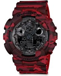 G-Shock Classic Series Camo-Print Analog Digital Watch/Red - Lyst