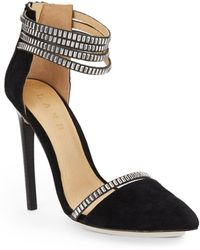 L.A.M.B. Studded Suede Dorsay Pumps - Lyst