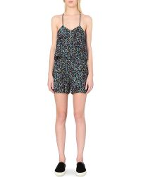 Sandro Polly Crepe Playsuit - Lyst