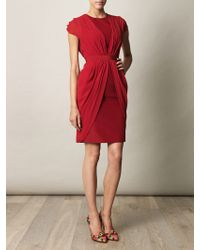 Giambattista Valli Silk Drape Dress red - Lyst