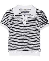 Miu Miu Crochet-Knit Cotton Polo Shirt - Lyst