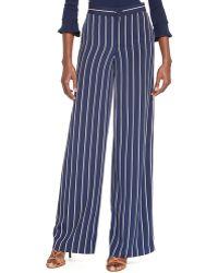 Ralph Lauren Lauren Stripe Wide Leg Pants - Lyst