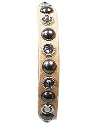 Bungalow 20 | Tan Leather Bracelet With Pewter And Silver Swarovski Studs | Lyst