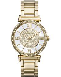 Michael Kors Caitlin Rhinestone Golden Stainless Steel Watch - Lyst