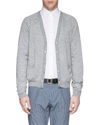 Canali Open Knit Wool Cardigan - Lyst