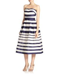 Kay Unger Striped Strapless Ball Gown - Lyst