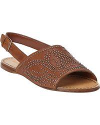 Miu Miu Studded Asymmetrical Slingback Flat Sandals - Lyst