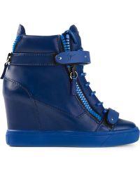 Giuseppe Zanotti Hitop Wedge Sneakers - Lyst