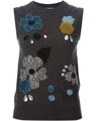 Dolce & Gabbana Floral Embroidered Tank Top - Lyst