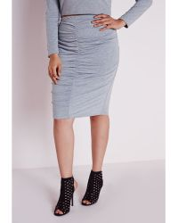 Missguided Plus Size Ruched Front Midi Skirt Marl Grey - Lyst