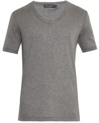 Dolce & Gabbana Scoop-neck Cotton T-shirt - Lyst