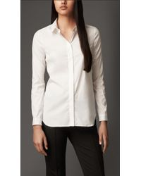 Burberry Wide Placket Stretch Cotton Shirt - Lyst