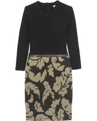 Burberry Brit Leathertrimmed Wool and Jacquard Dress - Lyst