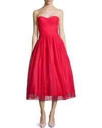 ML Monique Lhuillier Strapless Tulle Tea-Length Cocktail Dress - Lyst