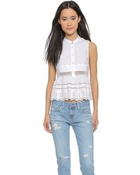 Suno Babydoll Embroidered Top - White - Lyst