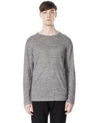 Alexander Wang Heather Linen Crewneck Long Sleeve Tee - Lyst