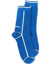 Diesel Blue Logo Socks - Lyst