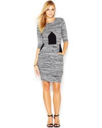 French Connection Three Quarter Sleeve Striped Paneled Dress - Lyst