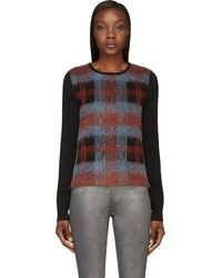 McQ by Alexander McQueen Black Plaid Panel Sweater - Lyst