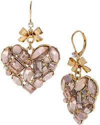 Betsey Johnson Pink Mixed Bead Cluster Heart Drop Earrings - Lyst