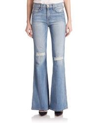 Current/Elliott The Girl Crush Distressed Flared Jeans blue - Lyst
