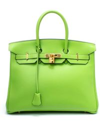 Hermes Preowned Apple Green Veau Gulliver Birkin 35 Bag - Lyst