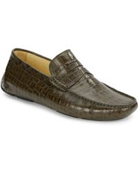 Saks Fifth Avenue Black Label Croc-embossed Leather Penny Loafers - Lyst