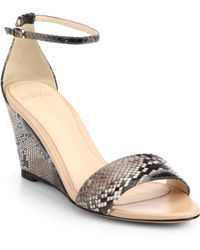 Alexandre Birman Python Ankle-Strap Wedge Sandals - Lyst