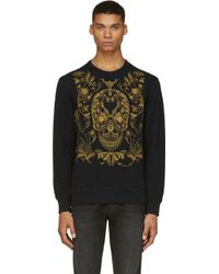 Alexander McQueen Black Embroidered Skull and Floral Motif Sweatshirt - Lyst