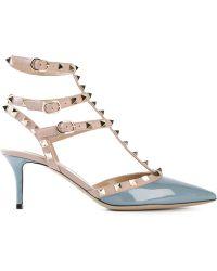 Valentino Gray Rockstud Sandals - Lyst