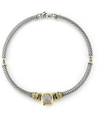 David Yurman Pre-owned 18ky  Sterling Silver Diamond Cord Necklace - Lyst