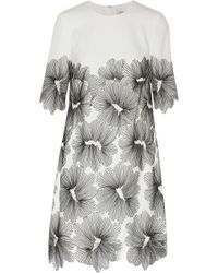 Lela Rose Crepe and Embroidered Lace Dress - Lyst