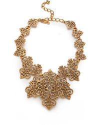 Oscar de la Renta Gold Lace Necklace Russian Gold - Lyst