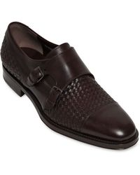 Ferragamo Pascale Woven Leather Monk Strap Shoes - Lyst