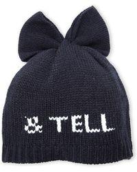Betsey Johnson Black Kiss & Tell Knit Beanie - Lyst