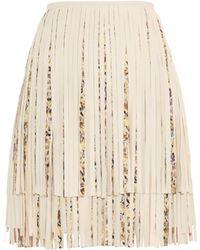 Giambattista Valli Leather Fringed Mini Skirt - Lyst