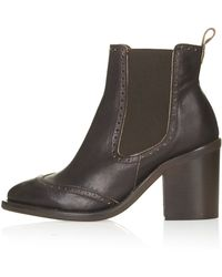 Topshop Maine Brogue Chelsea Boots  Brown - Lyst