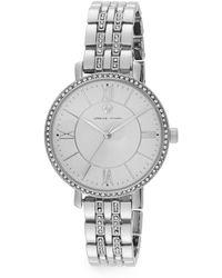 Adrienne Vittadini - Pavé Bezel Silvertone Bracelet Watch - Lyst