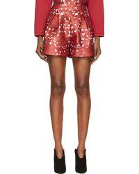Giambattista Valli Red Silk Blend Flower Print Shorts - Lyst