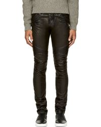 Balmain Black Leather Classic Biker Trousers - Lyst