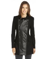 Rachel Zoe Black Wool Blend Leather Trim Monaco Coat - Lyst