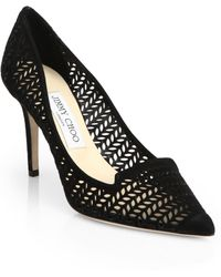 Jimmy Choo Alia Perforated Leather Notched Pumps - Lyst