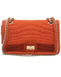 Chanel Pre-owned Orange Cotton Reissue Double Flap Bag - Lyst