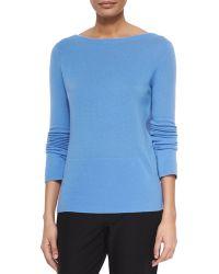 Halston Cashmere Long-Sleeve Back Wrap Drape Sweater - Lyst