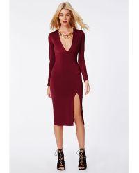 Missguided Chelsi Side Split Slinky Midi Dress Burgundy - Lyst