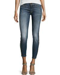 Hudson Embellished Mediumwash Cropped Jeans - Lyst