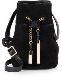 Halston Heritage | Glazed Leather & Suede Mini Bucket Bag | Lyst